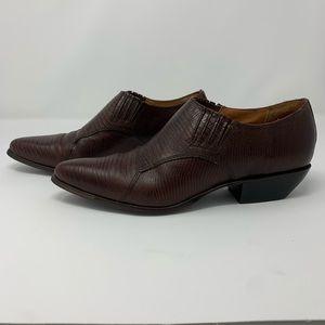 Nine West N-Riane Dark Cognac Leather Ankle Boots